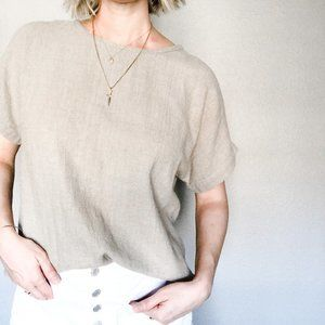 Vintage Textured Cotton Slouchy Top